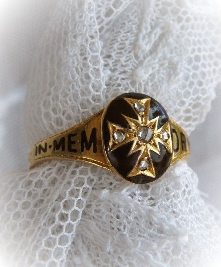 Circa 1820s Regency Period Mourning Ring Enamel Diamonds Gold