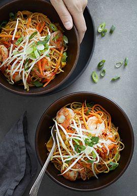 Spaghettini Aux Crevettes Sauce Au Beurre Recette Recette