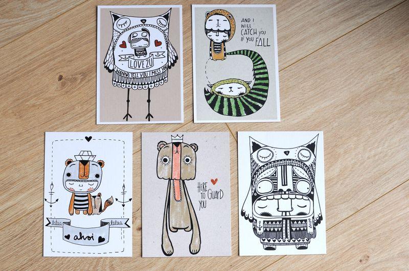 "Postkartenset ""love 2 U"" de HerrPfeffer por DaWanda.com"
