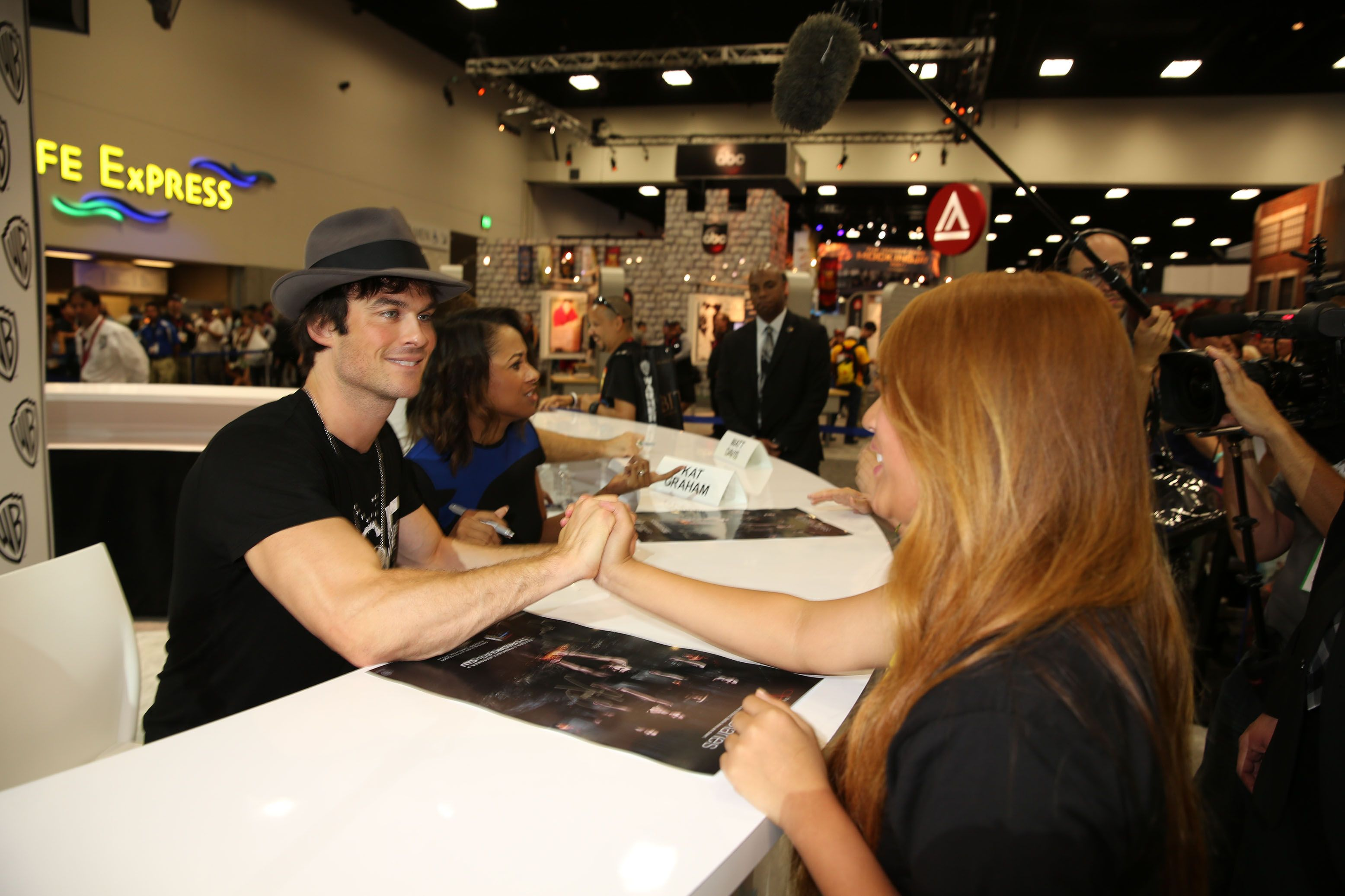 "Warner Bros. At Comic-Con International 2014  SAN DIEGO, CA - JULY 26: In this handout photo provided by Warner Bros, Ian Somerhalder of ""The Vampire Diaries"" attends Comic-Con International 2014 on July 26, 2014 in San Diego, California. (Photo by Michael Yarish/Warner Bros. Entertainment Inc.)"