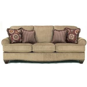 Martin Court - Caramel Traditional Sofa with Nail Head Trim by Signature Design by Ashley at Speedy Furniture