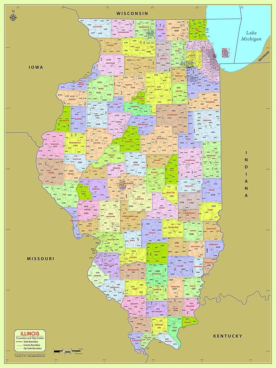 Zip Code Map Illinois MOW AMZ on (With images) | County map, Zip code map, Coding