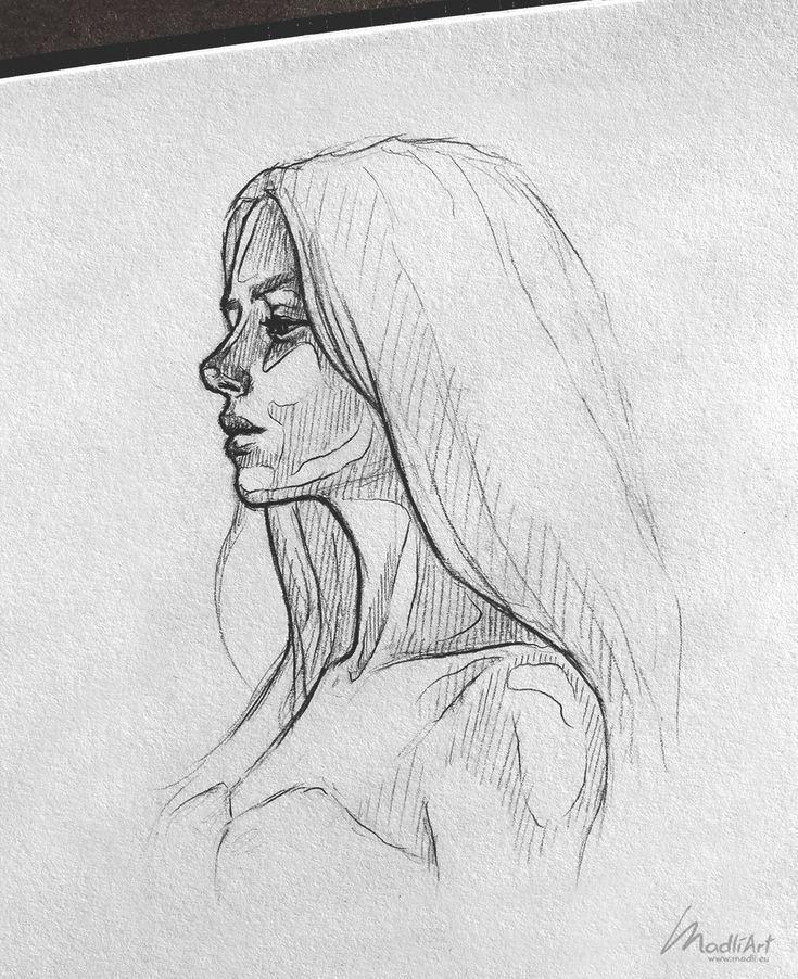 Photo of Mon art de carnet de croquis Je dessine des filles rêveuses heureuses Je dessine une fille mi…