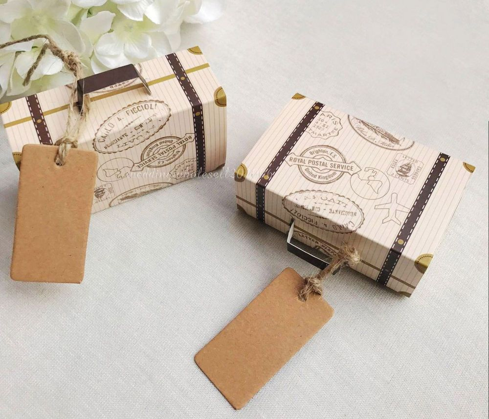 100pcs Retro Suitcase Style Wedding Favors Gifts Candy Boxes Creative