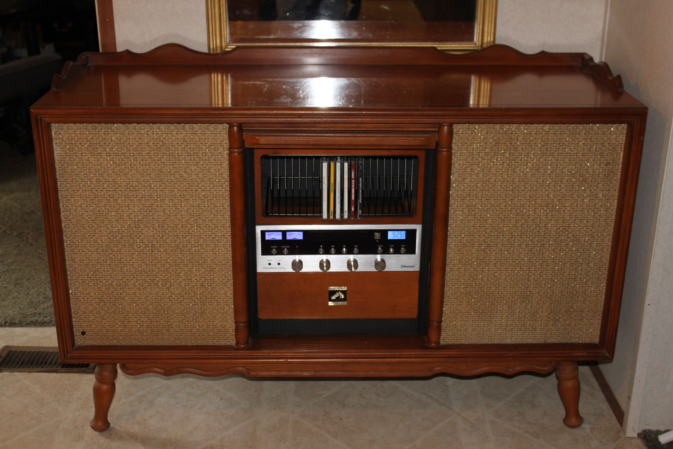 1960s RCA Console Stereo retrofitted with an AM/FM, CD Player