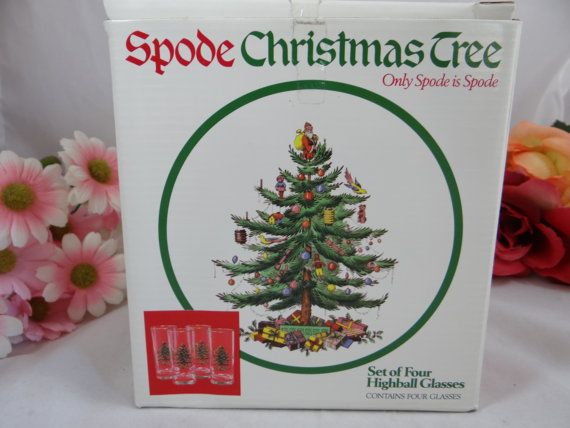 Spode Christmas Tree Cake Set Of 4 Highball By Secondwindshop
