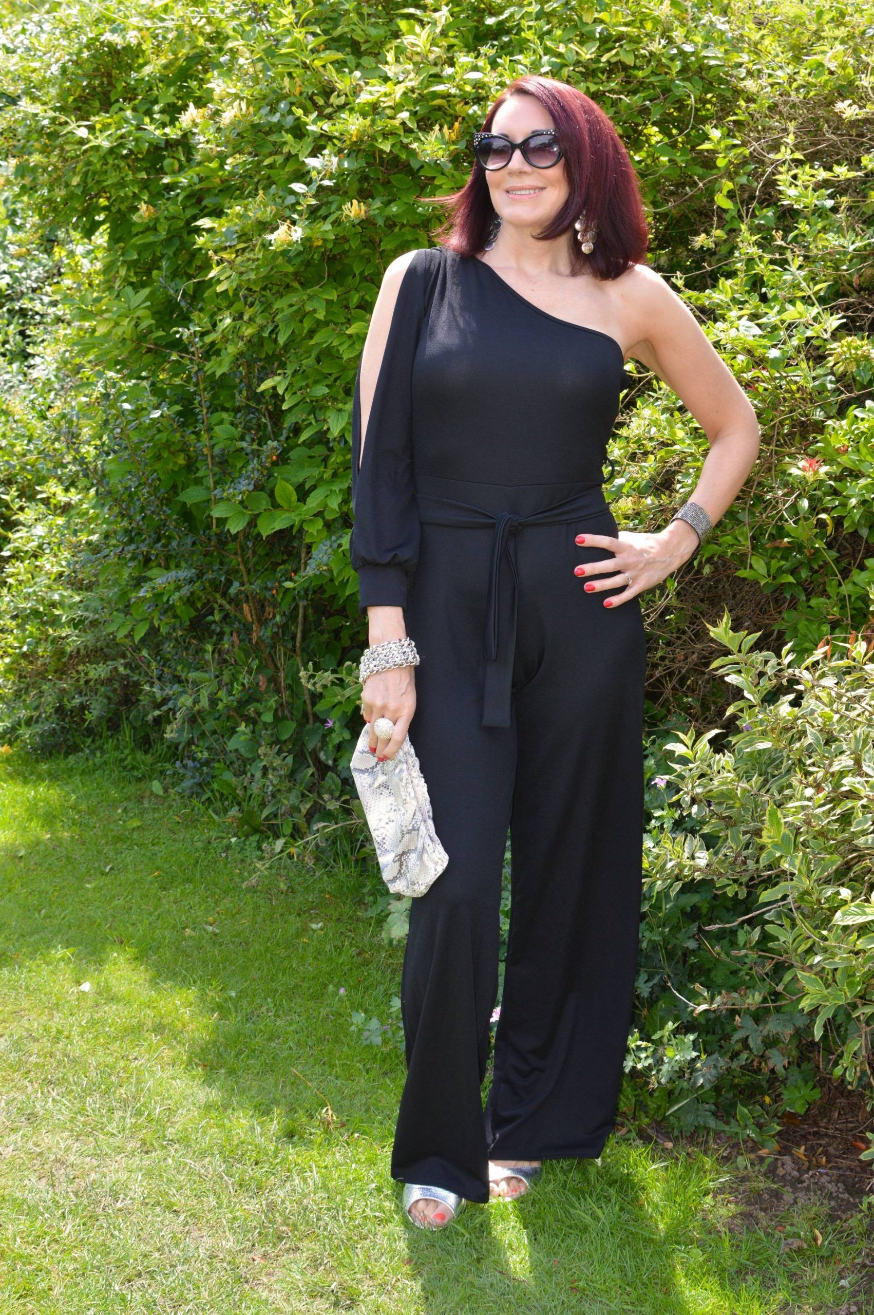Black Split Sleeve Jumpsuit With Silver Accessories Jumpsuit With Sleeves Comfortable Outfits Jumpsuit [ 2560 x 1702 Pixel ]