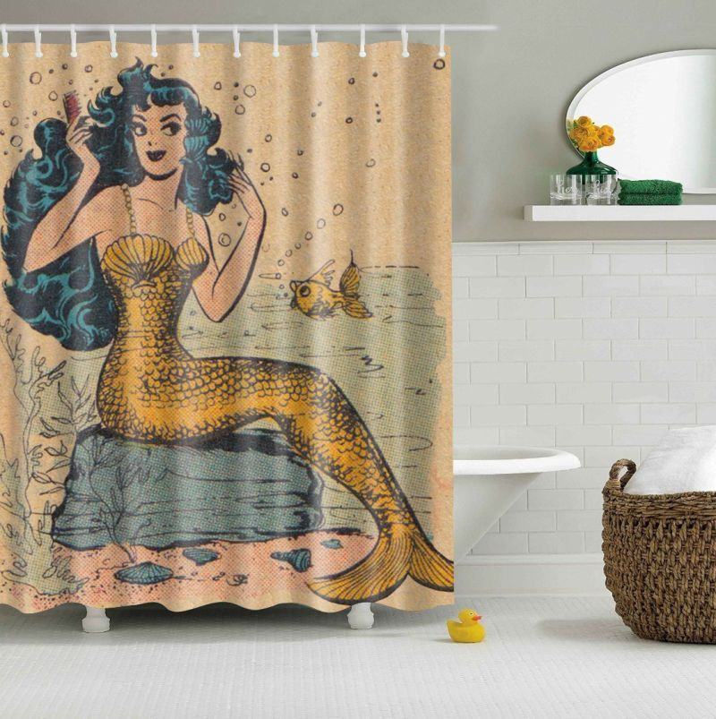 Custom Shower Curtain Retro Golden Mermaid Design Polyester Fabric Bath