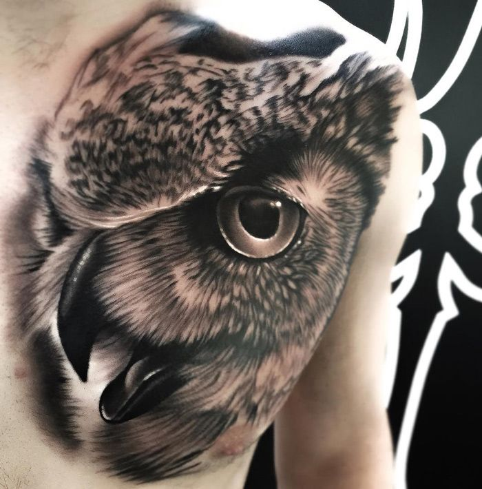 owl chest tattoo pinterest eule. Black Bedroom Furniture Sets. Home Design Ideas