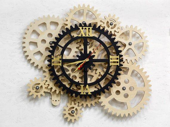 Large Wall Clock With Rotating Gears Huge Steampunk Metal Decor Restaurant Bar Establishments Working Mechanism Original Fashion Brand Large Wall Clock Wall Clock Clock