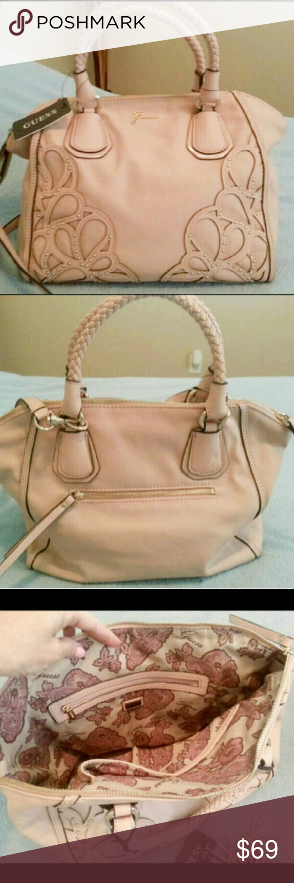 Genuine Pink Leather Guess Shoulder Handbag Nwt Authentic Purse Beautifully Made