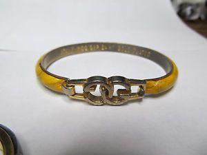 08f3eee5b Vintage Gucci Brown Snakeskin 24K Gold & Brass Bangle Bracelet ...