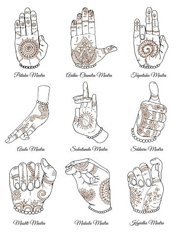 Mudras with mehndi henna patterns on hands, ethnic hindu ornament