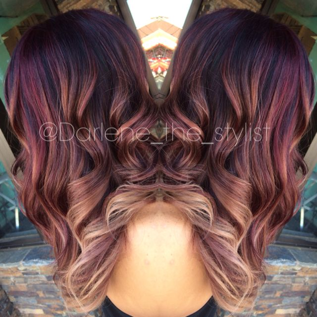 Red And Blonde Balayage Ombre Follow Darlene The Stylist On Ig For More Of My Work Hair Styles Hair Burgundy Hair