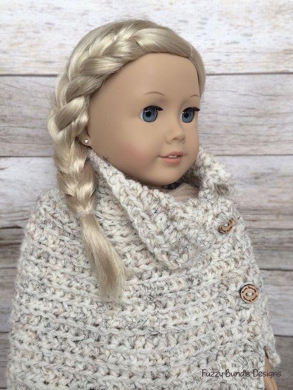 DIY Crochet Pattern – 18 inch Doll Wheat Button Poncho Wrap PDF 18 ...