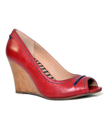 5c8ff90fdb26 Take a look at this Dark Red Dublin Peep-Toe Wedge by Splendid on  zulily  today!