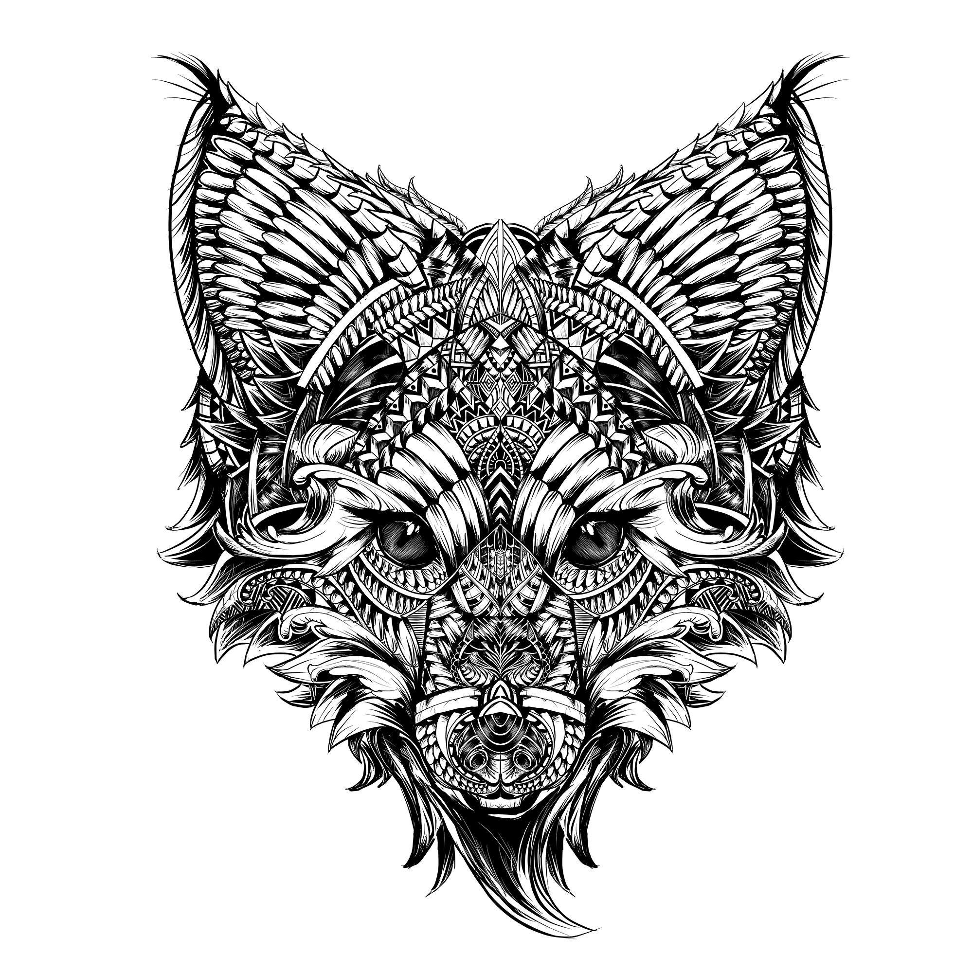 Fox, Sai paint tool. Tattoo ideen, Tattoo vorlagen, Fuchs