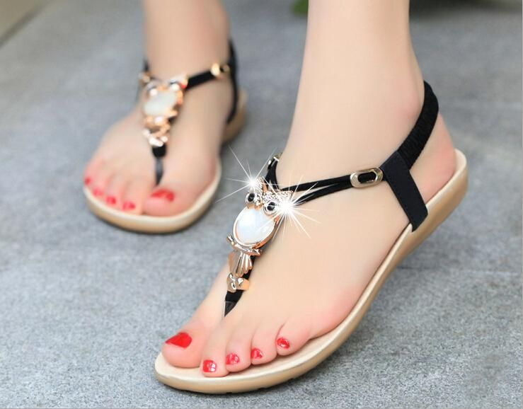 New Fashion Women Lady Flat Diamond Sandals Flat Ladies