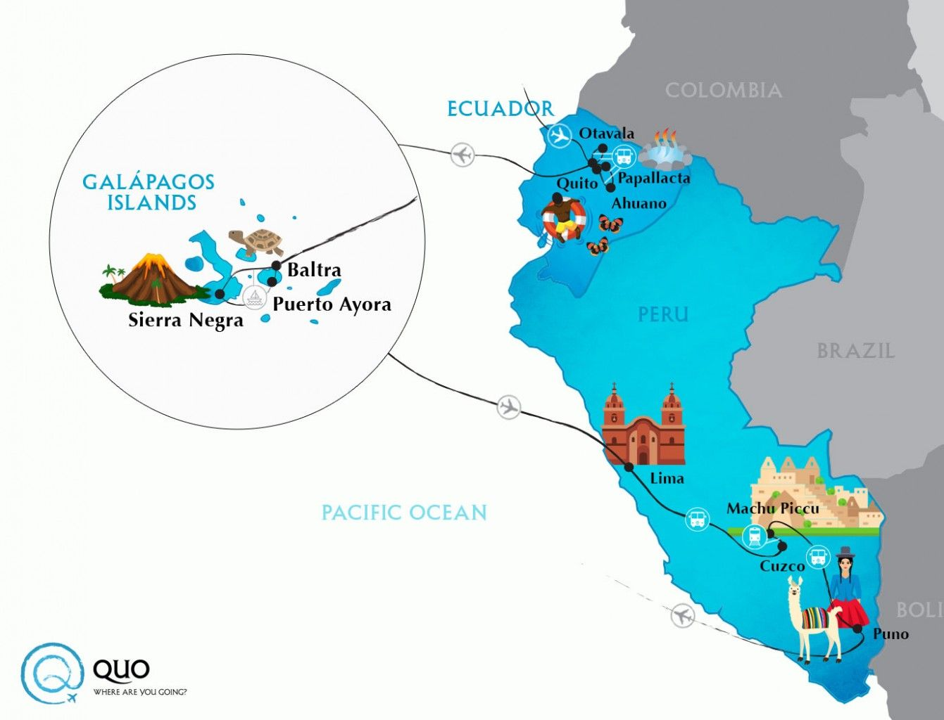 Image result for where is the galapagos islands and lima peru ...