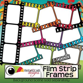 FREE - Film Strip Frames contains 26, brightly colored (including black and white), film strip frames. There are white filled and transparent frames perfect for product covers, name tags, folders, shelves, posters etc. Import to your editing program (eg. Powerpoint) and add text and/or photos behind the frame.