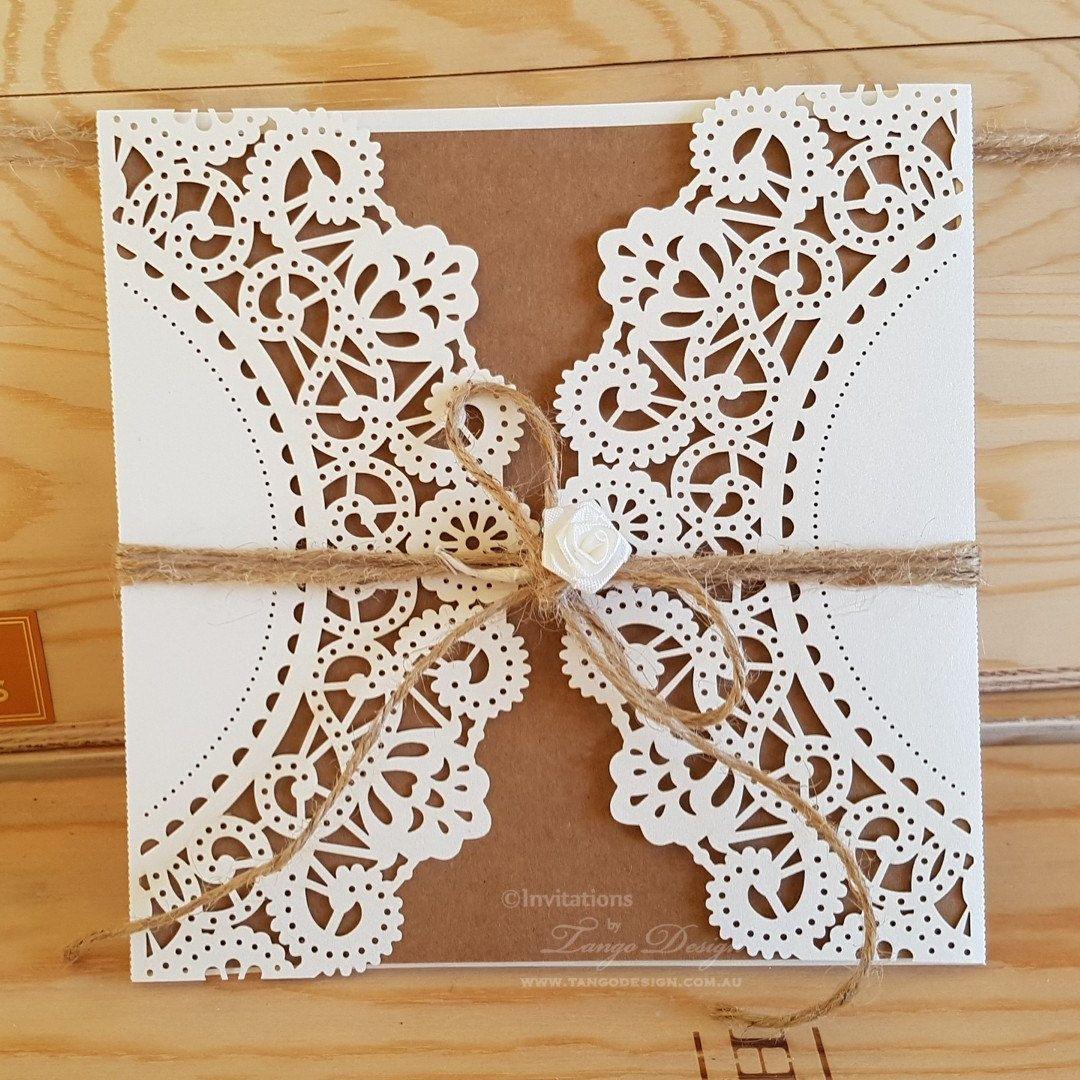 DIY wedding invitation Kit. RUSTIC lace invitation. DIY invites lace ...