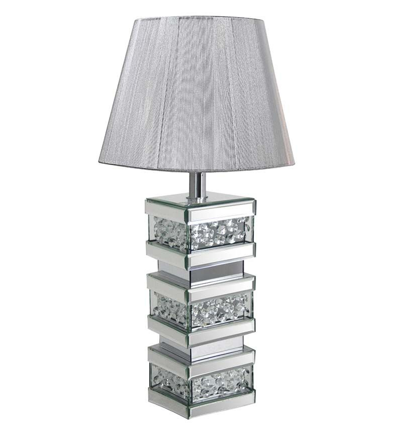 Stunning floating crystal lamp with light grey shade and mirroed frame