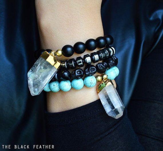 Turquoise et Quartz cristal trempé dans le Bracelet en or