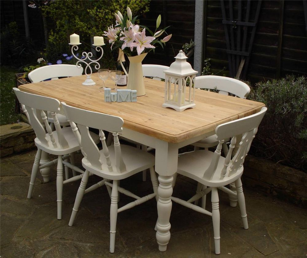 Shabby chic country farmhouse pine table and 6 chairs for Tableaux shabby chic
