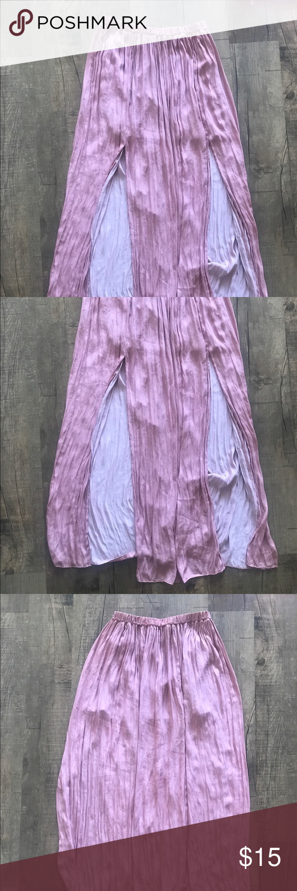 Pink mauve Forever 21 flows Skirt with slits Flowy pink skirt with slits from forever 21- Forever 21 Skirts Maxi