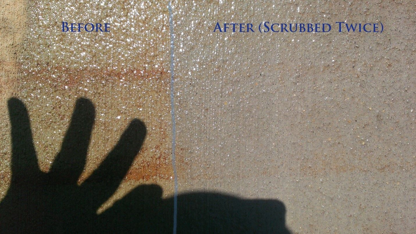 Cleaning rust stains off concrete see various chemicals
