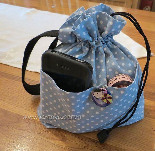 Knitting Bag with outside pockets Tutorial .Drawstring Bag - Inside ...