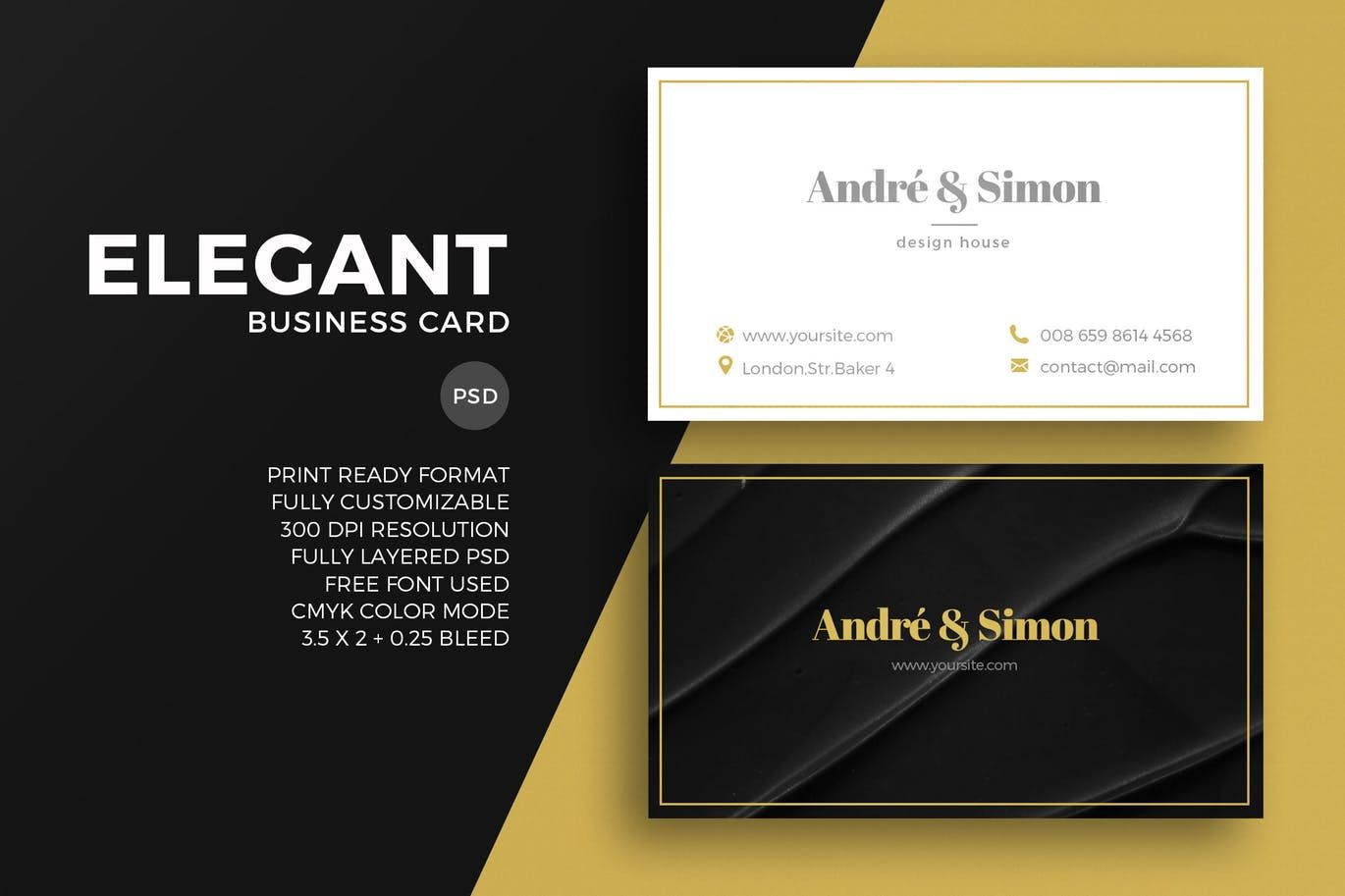 Elegant Business Card Template PSD | Business Card Templates ...