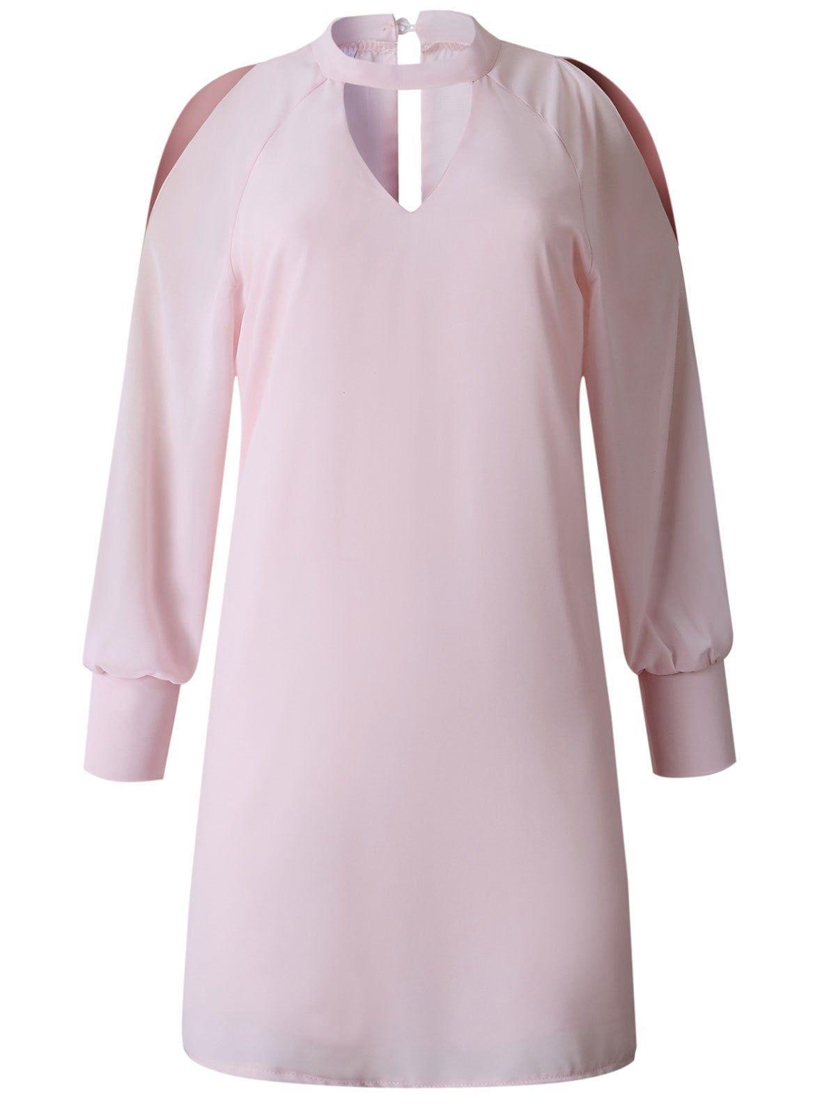 Keyhole Split Sleeve Mini Straight Dress #rosaspitzenkleider