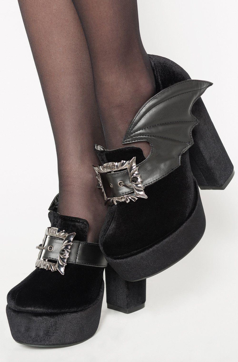 Préférence Chaussures Plateforme Gothique Glam Rock Chauve Souris Bat  EV05