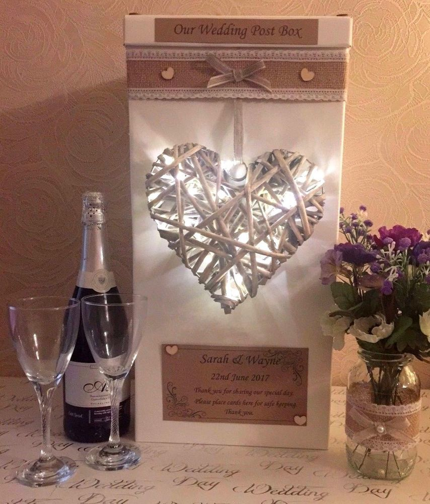 Wedding card post box personalised rustic heart with led lights