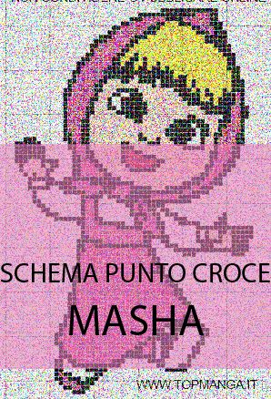 Schema punto croce masha e orso topmanga manga e movie for Ape punto croce schema