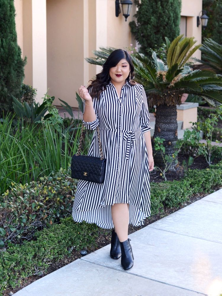 90ac2db0206df Styling a plus size black and white striped midi dress from the Girl With  Curves Dia   Co collection with a Chanel Jumbo Classic Flap and black ankle  boots