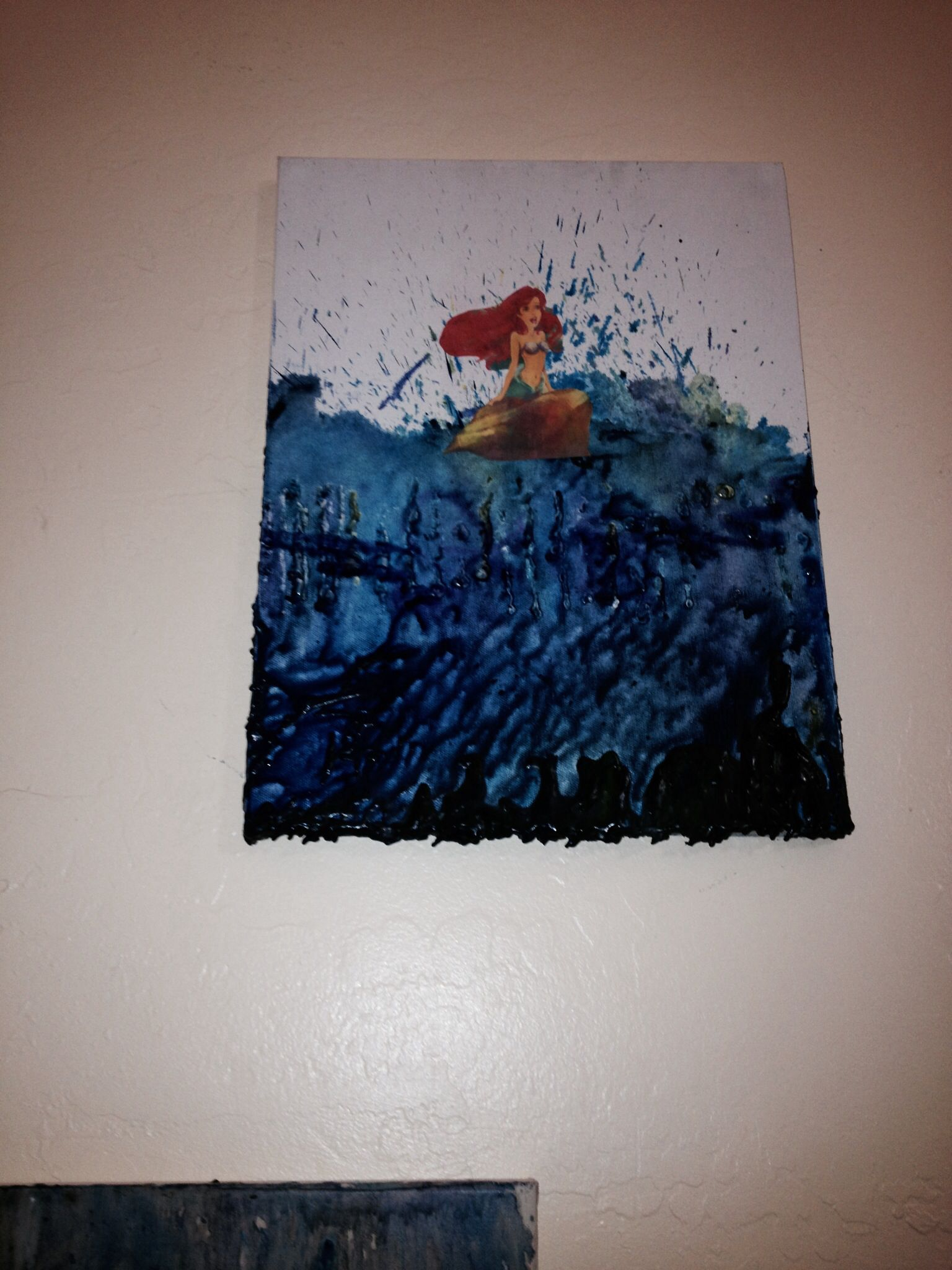 Melted Crayon Art Little Mermaid Completed Crafts Pinterest