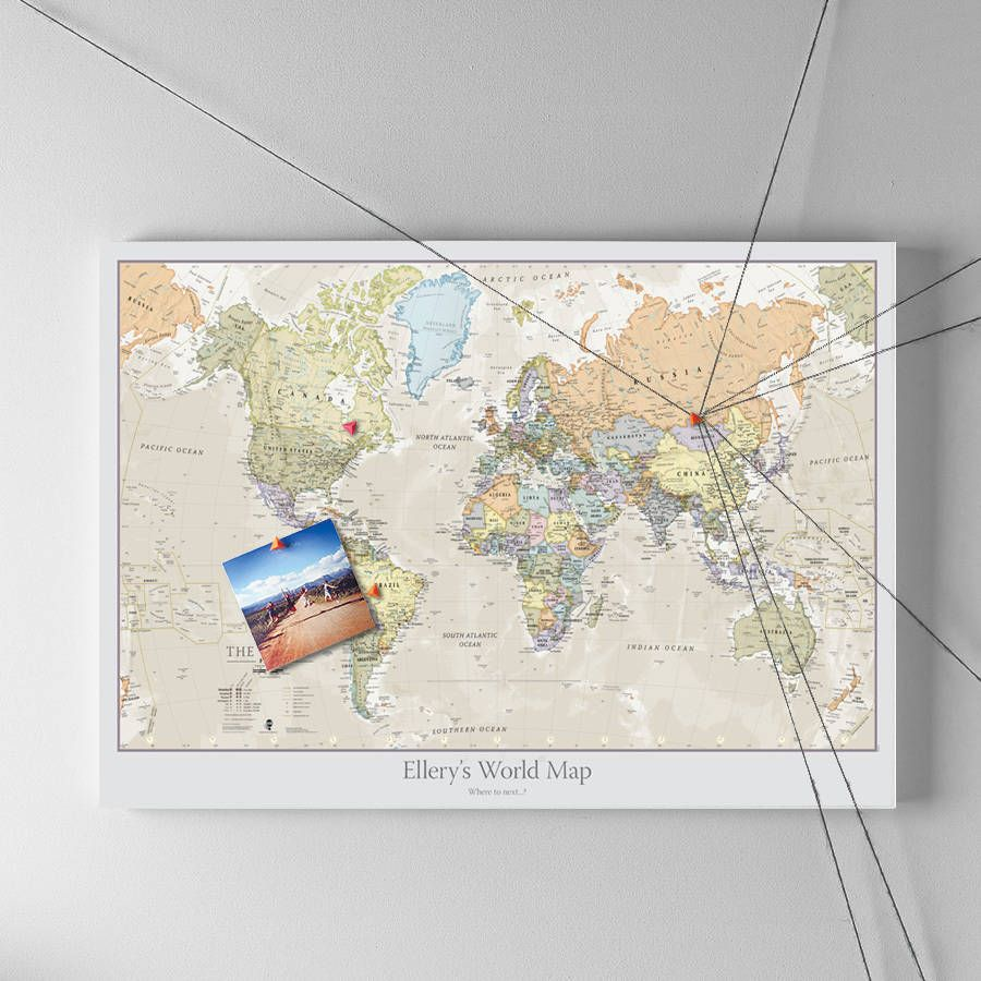 Personalised classic world map wall maps walls and photo wall our personalised world classic styled wall map with pinboard finish makes the perfect gift for the gumiabroncs Image collections