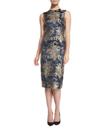 2cbf6401 B3DCT Ralph Lauren Collection Georgia Baroque Silk Brocade Sheath Dress,  Petrol/Multi