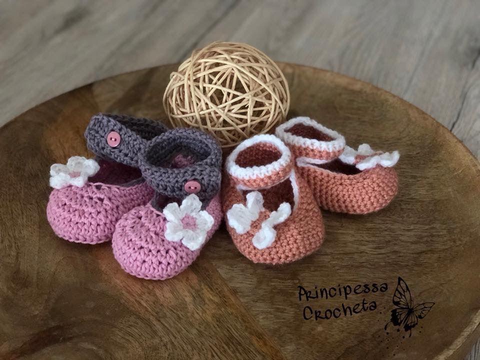 Baby Schuhe gehäkelt shoes crochet Blume Schmetterling flower ...