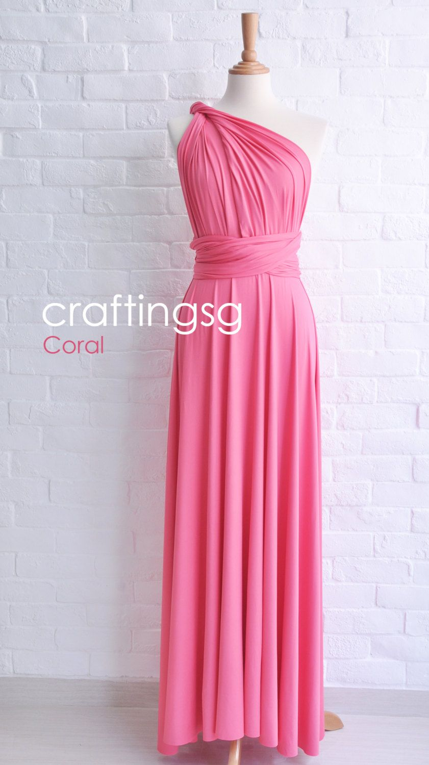 Bridesmaid Dress Infinity Dress Coral Floor Length Wrap Convertible ...
