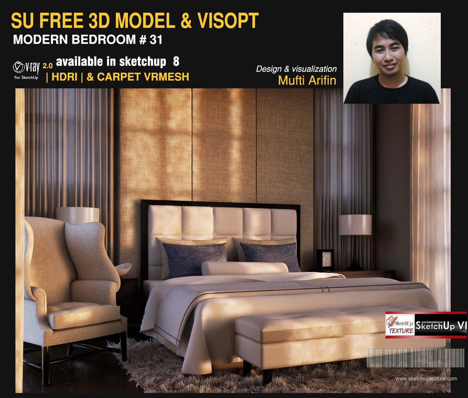 sketchup free 3d model bedroom 31 and vray visopt by Mufti ...