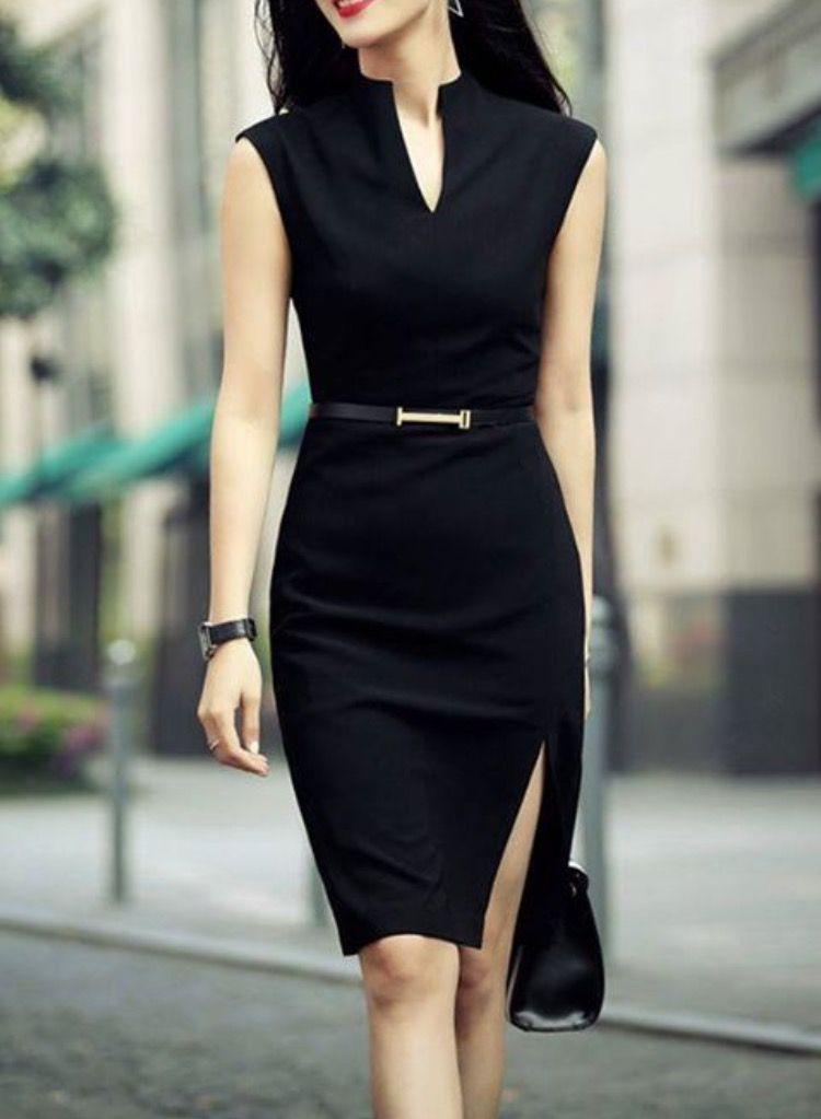 1990a6d9b Vestido ejecutivo negro. Vestido ejecutivo negro Vestidos Elegantes