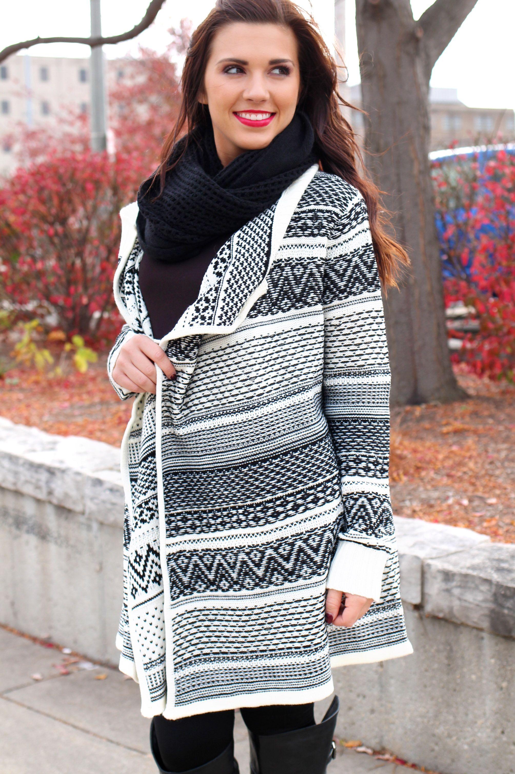 Black and White Oversized Knit Cardigan