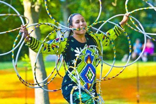 Jasmine Pickner, American Indian, hoop dancing in Worthington, MN.