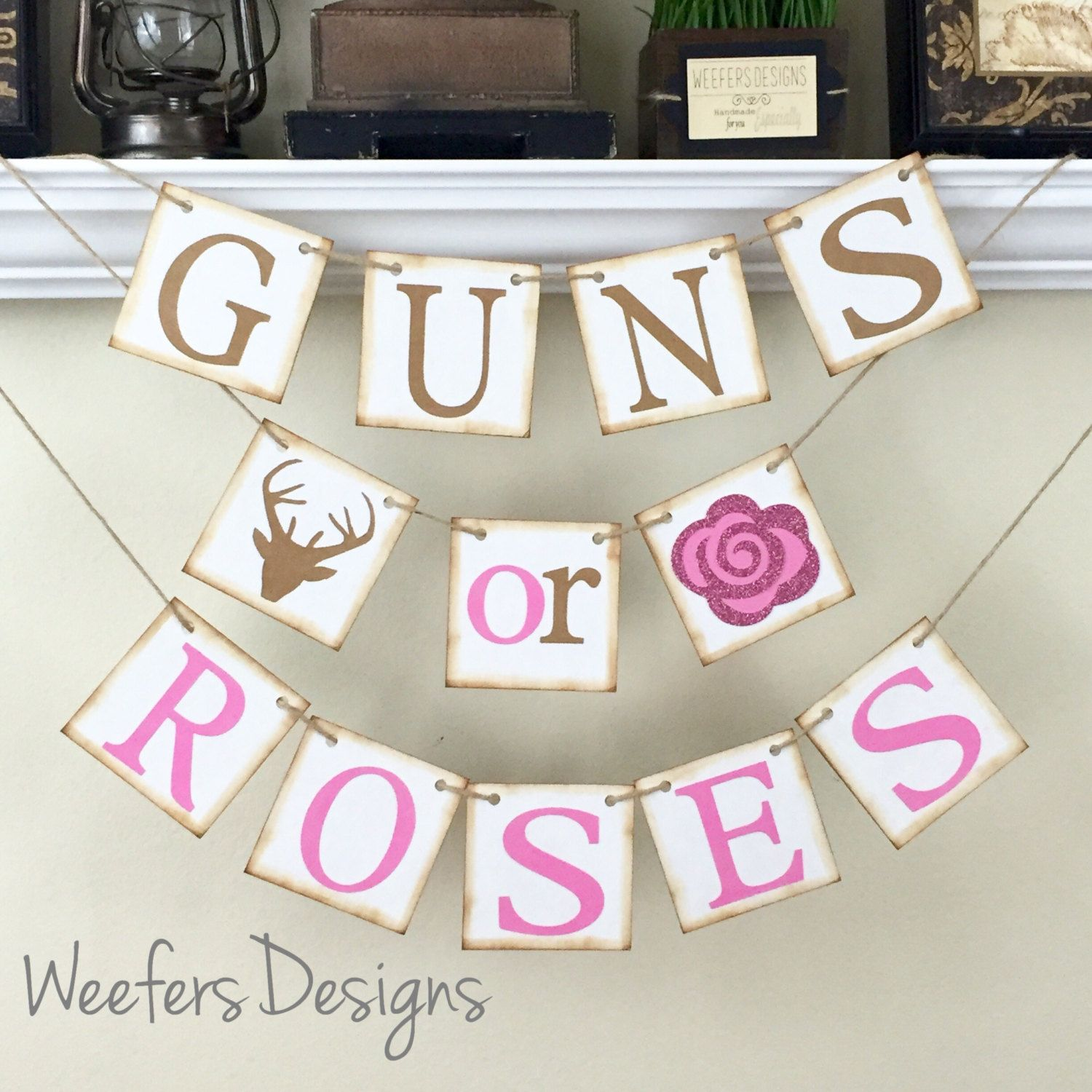 Gender Reveal Banner Guns Or Roses Banner Rustic Baby Shower Decor