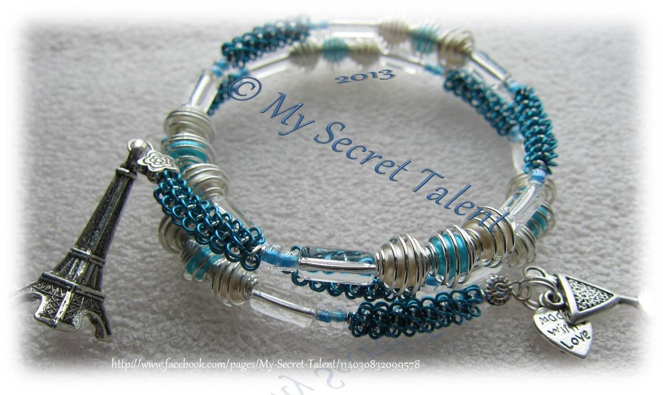 Silvered pacific blue wire wrapped around memory wire bracelet with ...