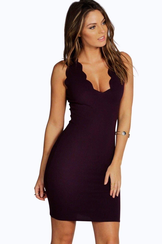 d013a556104 Scalloped Edge Bodycon Dress