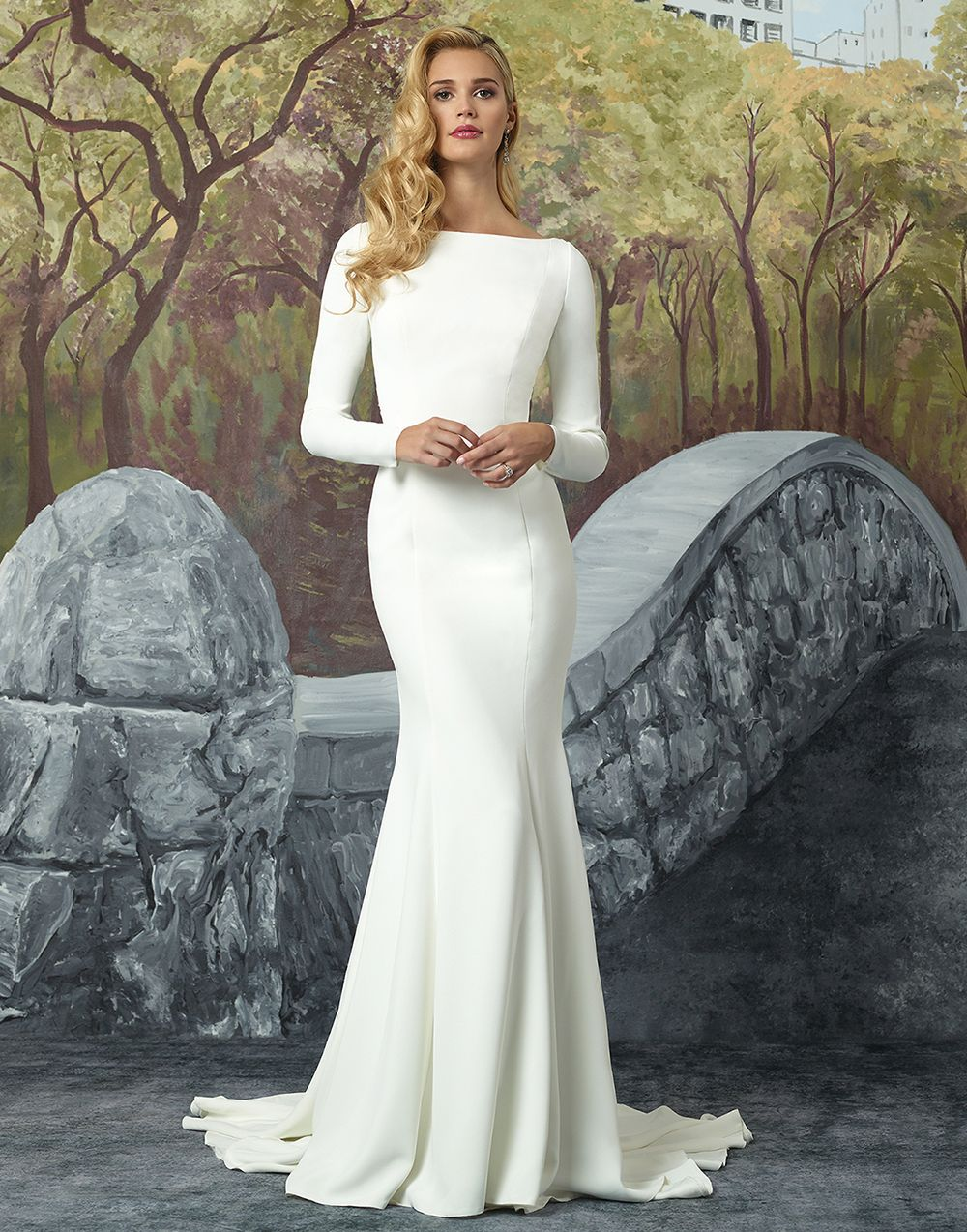 Justin Alexander wedding dresses style 8936 Turn heads with this crepe long  sleeve fit and flare gown lined with Jersey from top to bottom. 75e34240f79a